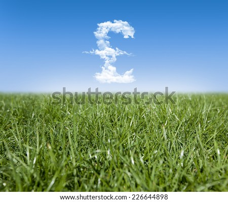 Green grass and Pound currency shaped clouds - stock photo