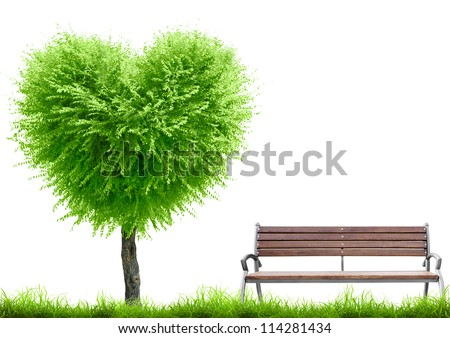Green grass and tree heart shape and bench on white background with place for text. Valentine day concept - stock photo