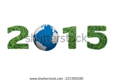 Green grass and world 2015 New Year sign isolated on white background - stock photo