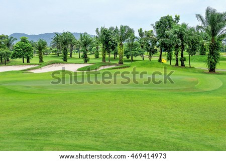 Green grass area in golf courses.