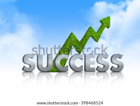 Green grass arrow on blue sky with the word fonts alphabets success on white background. Ecology and business concept - stock photo