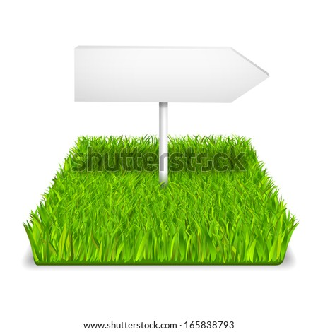 Green grass arrow realistic isolated illustration