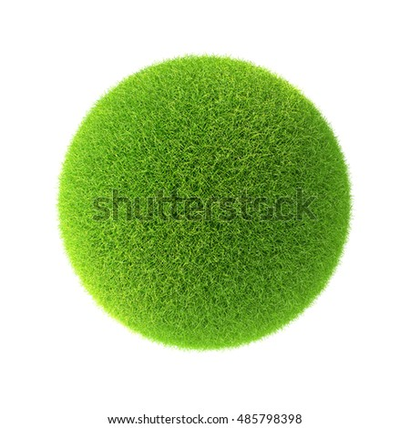 Green grass ball. Isolated on white background in the design of information related to the world and nature. 3d illustration