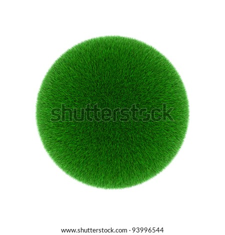 Green grass ball on white background.