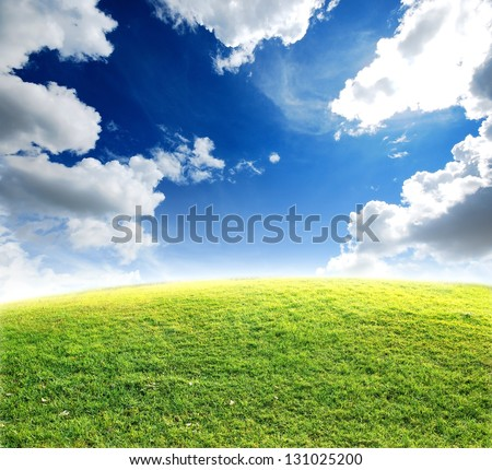 green grass blue sky background nature landscape park outdoor - stock photo