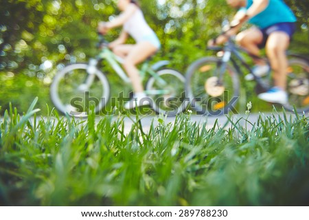 Green grass by the road for riding bicycles - stock photo