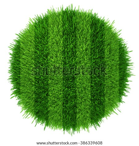 Green grass circle field background. Realistic textured - stock photo