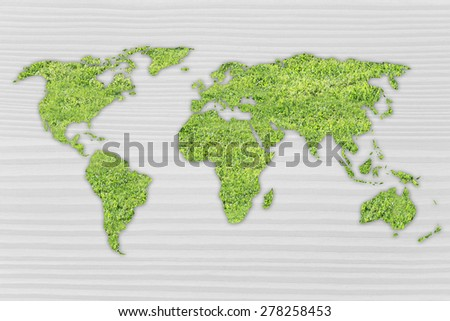 Green grass creating the map of the world