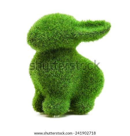 Green grass easter bunny rabbit - stock photo