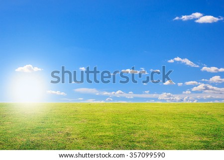green grass field and blue sky background, Daylight - stock photo