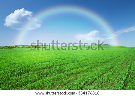 Green grass field, blue sky with clouds and rainbow background - stock photo