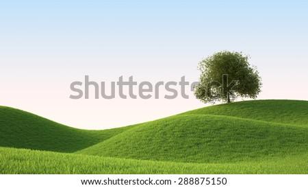 green grass field , ideal landscape 3D render - stock photo