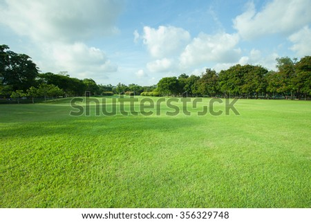 green grass field of public park - stock photo