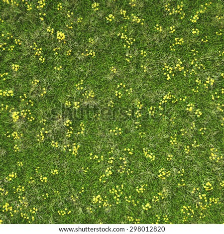 Green grass field with flowers. background texture. - stock photo
