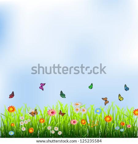 Green grass, flowers and butterflies.Raster version - stock photo