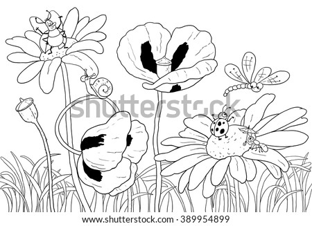 Green Grass Flowers And Insects Cute Dragonfly Beetles Ant Snail