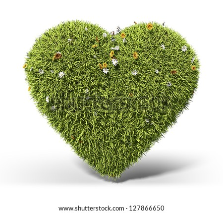 Green grass heart - stock photo