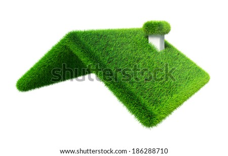 green grass house roof on white background. clipping path included