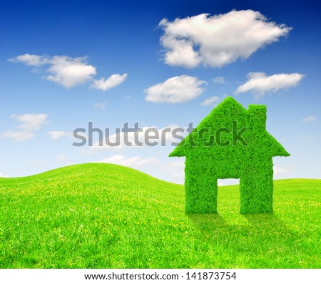 Green grass house symbol on meadow - stock photo