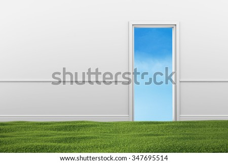 Green grass lawn in the room. Open doorway with blue sky. - stock photo