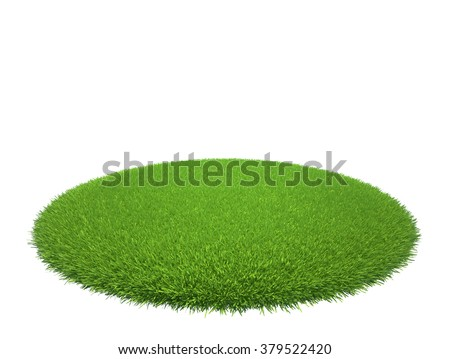 Green grass lawn island isolated on white background - stock photo