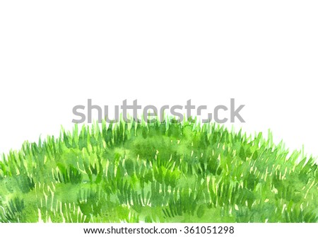 Green grass lawn painted in watercolor on white isolated background - stock photo