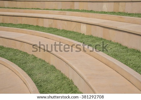 Green grass lawn with steps