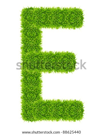 green grass letter E Isolated - stock photo