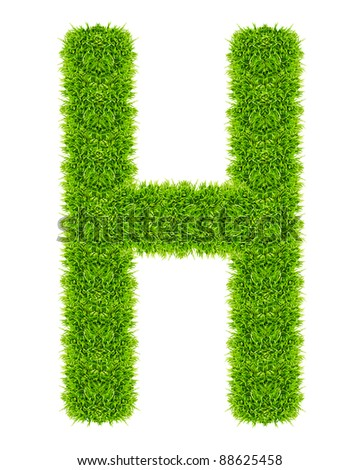 green grass letter H Isolated