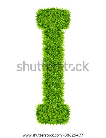 green grass letter I Isolated - stock photo