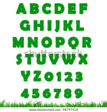 Green grass letter isolated A-Z, 0-9 on white background