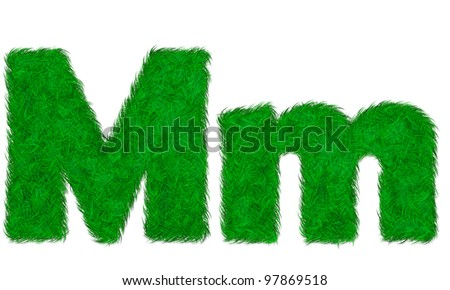 Green grass letter M m isolated on white background