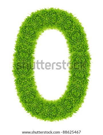 green grass letter O Isolated - stock photo