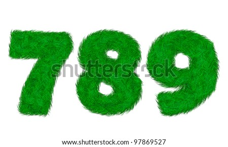 Green grass letter 7 8 9 on white background