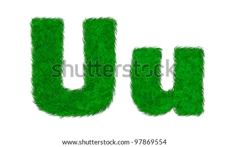 Green grass letter U u isolated on white background