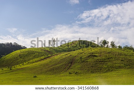 green grass mountain in rainy season at  southern Thailand
