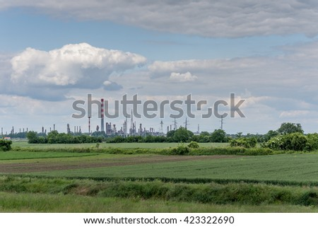 Green grass nature landscape factory industry. - stock photo