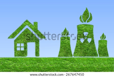 Green grass Nuclear power plant icon on a background of blue sky. The concept of ecology - stock photo