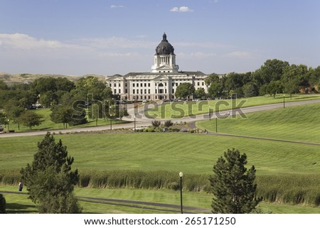 Green grass of park leading to South Dakota State Capitol and complex, Pierre, South Dakota - stock photo