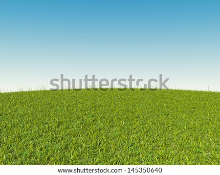 Green grass on hill and blue sky. Spring and summer time - stock photo