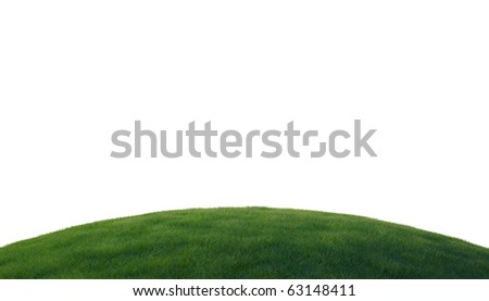 Green grass on hill isolated over white background - stock photo