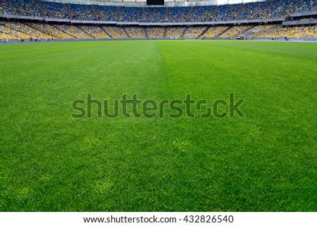 green grass on stadium - stock photo