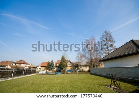 Green grass on the garden in the village - stock photo