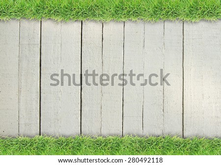 Green grass on white colored wood background