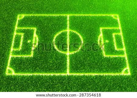 Green grass soccer / football field background - stock photo