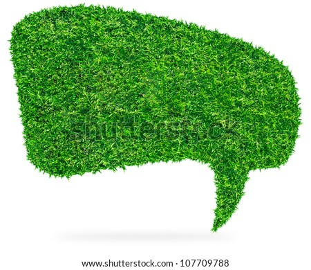 Green grass Speech Bubble, isolated on white background (Save Paths For design work) - stock photo