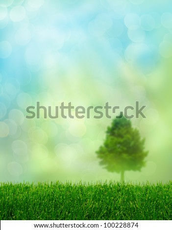 Green grass spring fantasy soft light effect background