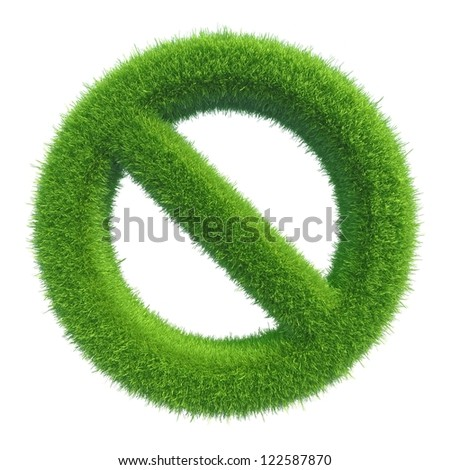 Green grass symbol no - stock photo