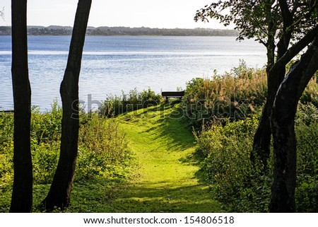 Green grass to the sea - stock photo