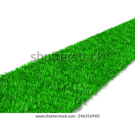 Green Grass Way 3D Illustration on White Background - stock photo